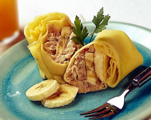 bánh kếp cá ngừ và chuối